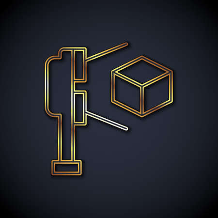 Gold line 3D scanner with cube projection icon isolated on black background. Vector