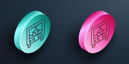 Isometric line 3D printer icon isolated on black background. 3d printing. Turquoise and pink circle button. Vector