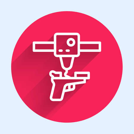 White line 3D printer gun icon isolated with long shadow. 3d printing. Red circle button. Vector Çizim