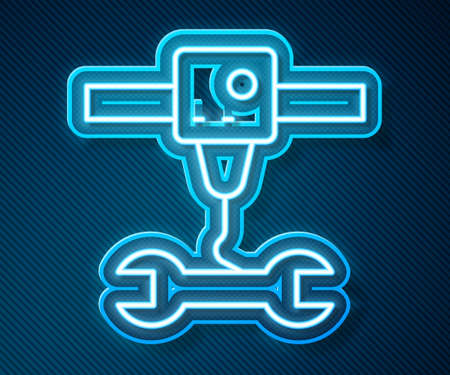 Glowing neon line 3D printer wrench spanner icon isolated on blue background. 3d printing. Vector