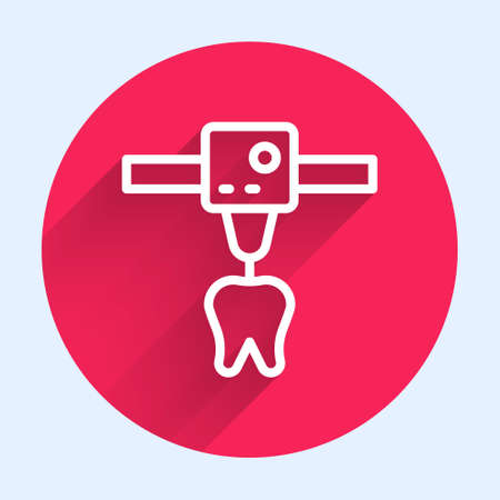 White line 3D printer tooth icon isolated with long shadow. 3d printing. Red circle button. Vector Çizim
