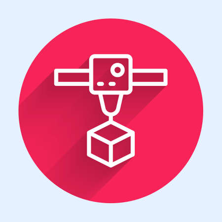 White line 3D printer cube icon isolated with long shadow. 3d printing. Red circle button. Vector Çizim