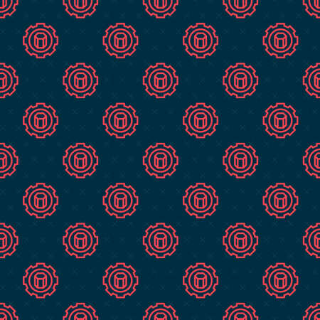 Red line 3D printer setting icon isolated seamless pattern on black background. 3d printing. Vector