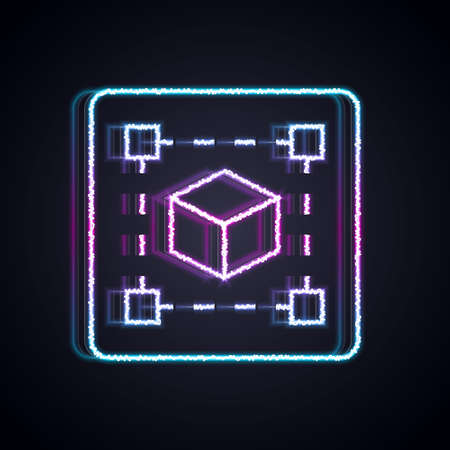 Glowing neon line Geometric figure Cube icon isolated on black background. Abstract shape. Geometric ornament. Vector Çizim