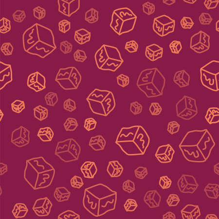 Brown line Isometric cube icon isolated seamless pattern on red background. Geometric cubes solid icon. 3D square sign. Box symbol. Vector Çizim