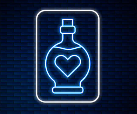 Glowing neon line Bottle with love potion icon isolated on brick wall background. Valentines day symbol. Vector