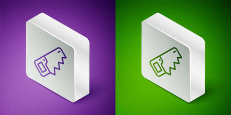 Isometric line Hand saw icon isolated on purple and green background. Silver square button. Vector