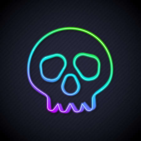 Glowing neon line Skull icon isolated on black background. Happy Halloween party. Vector