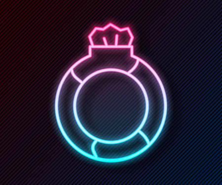 Glowing neon line Fantasy magic stone ring with gem icon isolated on black background. Vector