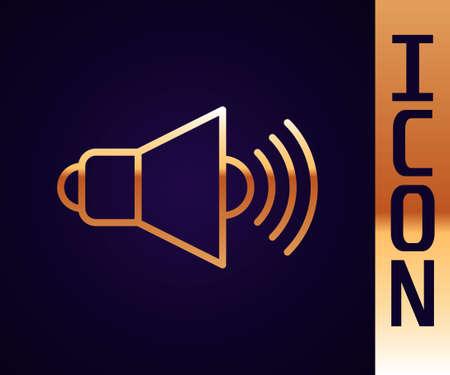 Gold line Speaker volume, audio voice sound symbol, media music icon isolated on black background. Vector Çizim