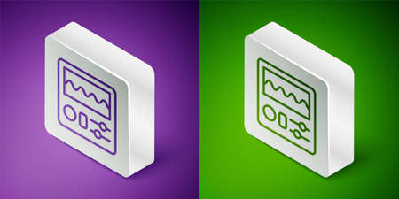 Isometric line Drum machine icon isolated on purple and green background. Musical equipment. Silver square button. Vector