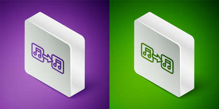 Isometric line Music note, tone icon isolated on purple and green background. Silver square button. Vector