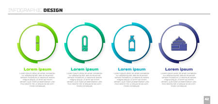 Set Nail file, Bottle of shampoo, Spray can for hairspray and Cream lotion cosmetic tube. Business infographic template. Vector