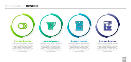 Set Plate, Measuring cup, Coffee machine and Electric mixer. Business infographic template. Vector