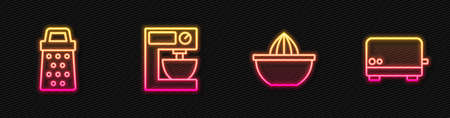 Set line Citrus fruit juicer, Grater, Electric mixer and Toaster. Glowing neon icon. Vector
