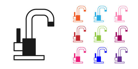 Black Water tap icon isolated on white background. Set icons colorful. Vector Vector Illustration