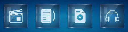 Set Movie clapper, Scenario, AVI file document and Headphones. Square glass panels. Vector Vector Illustratie