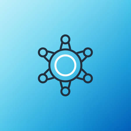 Line Hexagram sheriff icon isolated on blue background. Police badge icon. Colorful outline concept. Vector