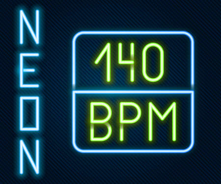 Glowing neon line Bitrate icon isolated on black background. Music speed. Sound quality. Colorful outline concept. Vector Vetores