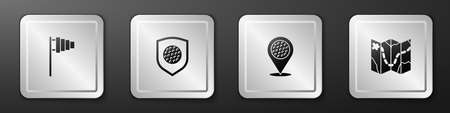 Set Golf flag, ball with shield, Location golf sport club and course layout icon. Silver square button. Vector Vetores