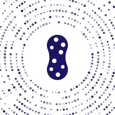Blue Sponge with bubbles icon isolated on white background. Wisp of bast for washing dishes. Cleaning service Abstract circle random dots. Vector