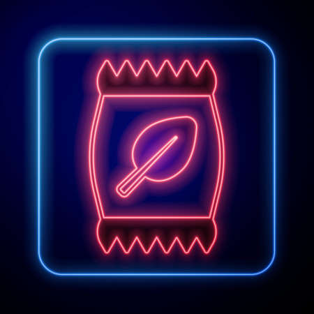 Glowing neon Fertilizer bag icon isolated on black background. Vector Vettoriali