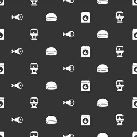 Set Barbecue coal bag, Brick stove, Chicken leg and Burger on seamless pattern. Vector