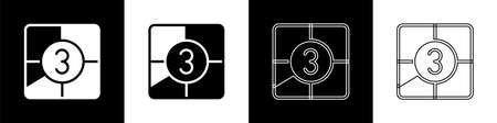 Set Old film movie countdown frame icon isolated on black and white background. Vintage retro cinema timer count. Vector