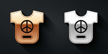 Gold and silver Peace icon isolated on black background. Hippie symbol of peace. Long shadow style. Vector Vetores
