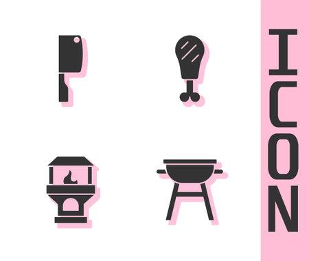 Set Barbecue grill, Meat chopper, Brick stove and Chicken leg icon. Vector Vetores