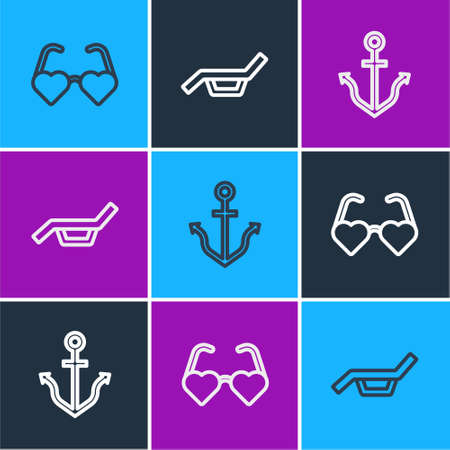 Set line Heart shaped love glasses, Anchor and Sunbed and umbrella icon. Vector Vektorové ilustrace