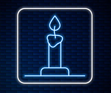 Glowing neon line Burning candle in candlestick icon isolated on brick wall background. Cylindrical candle stick with burning flame. Vector Ilustração