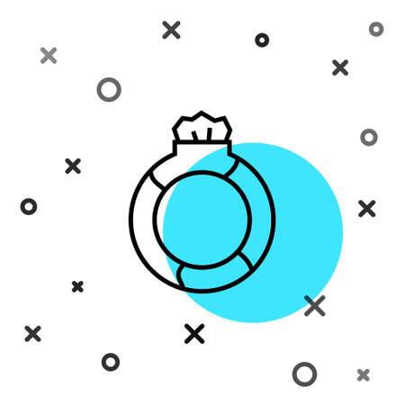 Black line Fantasy magic stone ring with gem icon isolated on white background. Random dynamic shapes. Vector