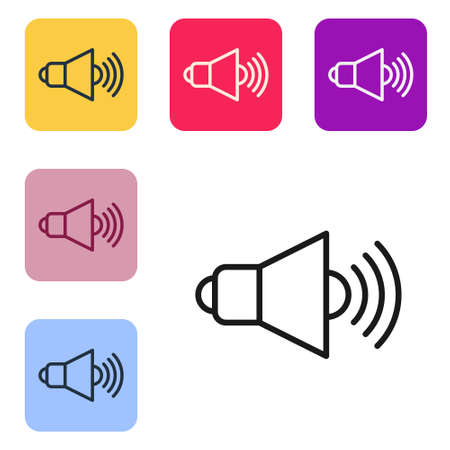 Black line Speaker volume, audio voice sound symbol, media music icon isolated on white background. Set icons in color square buttons. Vector Ilustração