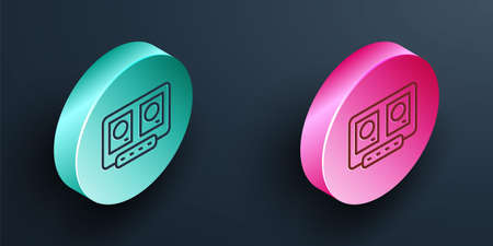 Isometric line DJ remote for playing and mixing music icon isolated on black background. DJ mixer complete with vinyl player and remote control. Turquoise and pink circle button. Vector