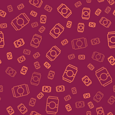 Brown line Beer can icon isolated seamless pattern on red background. Vector Ilustração
