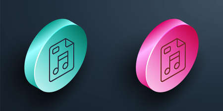 Isometric line MP3 file document. Download mp3 button icon isolated on black background. Mp3 music format sign. MP3 file symbol. Turquoise and pink circle button. Vector