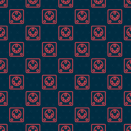 Red line Drum machine icon isolated seamless pattern on black background. Musical equipment. Vector