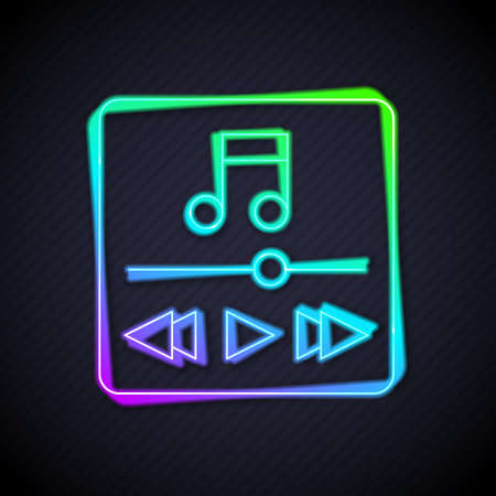 Glowing neon line Music player icon isolated on black background. Portable music device. Vector Ilustração