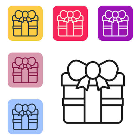 Black line Gift box icon isolated on white background. Happy Birthday. Set icons in color square buttons. Vector Ilustração