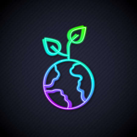 Glowing neon line Volunteer team planting trees icon isolated on black background. Represents ecological protection, protecting plants and trees. Vector Ilustração