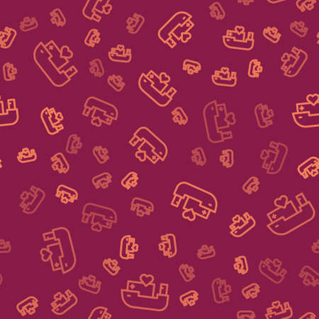 Brown line Humanitarian ship icon isolated seamless pattern on red background. Vector Ilustração