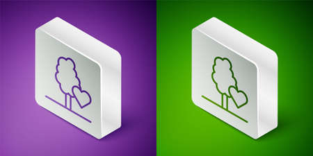 Isometric line Volunteer team planting trees icon isolated on purple and green background. Represents ecological protection, protecting plants and trees. Silver square button. Vector Ilustração