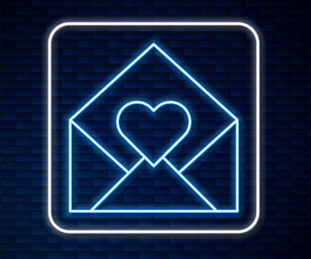 Glowing neon line Envelope with Valentine heart icon isolated on brick wall background. Message love. Letter love and romance. Vector