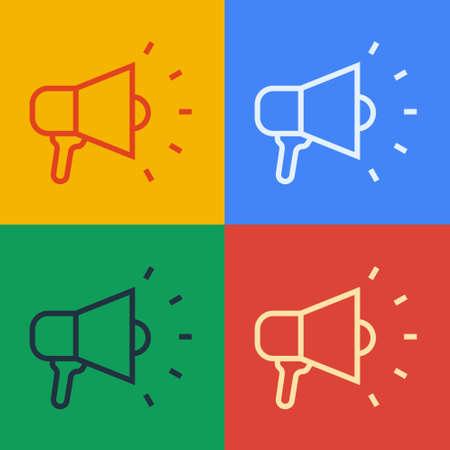 Pop art line Megaphone icon isolated on color background. Speaker sign. Vector Ilustração