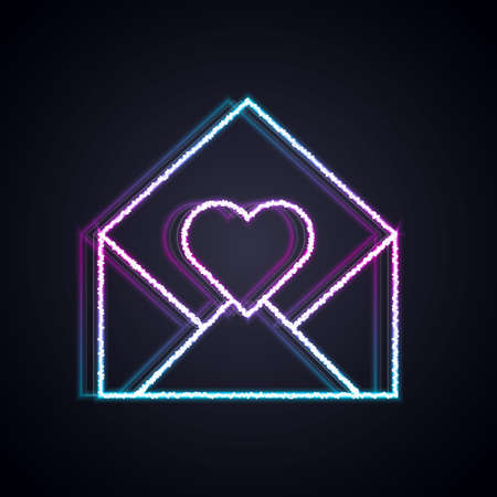 Glowing neon line Envelope with Valentine heart icon isolated on black background. Message love. Letter love and romance. Vector