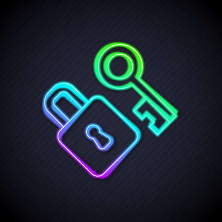 Glowing neon line Lock with key icon isolated on black background. Love symbol and keyhole sign. Vector