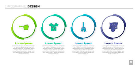 Set Washing powder, Dirty t-shirt, Feather broom and Cleaning service. Business infographic template. Vector