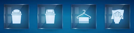 Set Trash can, , Towel on hanger and Cleaning service. Square glass panels. Vector