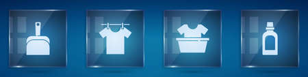 Set Dustpan, Drying clothes, Basin with shirt and Bottle for cleaning agent. Square glass panels. Vector